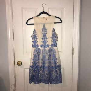 Blue Embroidered Formal Dress
